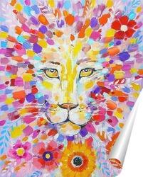 Постер Лев в цветах