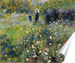 Постер Женщина с зонтиком в саду летом