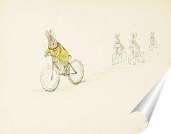 Постер Четыре маленьких кролика на велосипеде