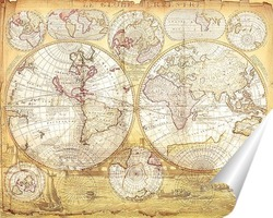 Постер Старая карта мира