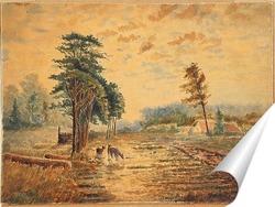 Постер Три оленя возле деревни