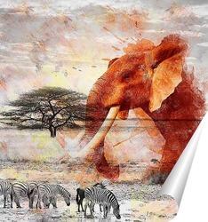 Постер Слон в саване