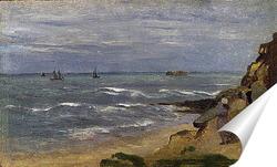 Постер Морской пейзаж с фигурами на скалах