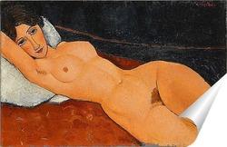 Постер Обнаженная, лежащая на белой подушке, 1917
