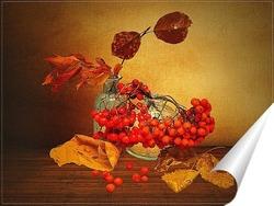 Постер Натюрморт с гроздьями рябины
