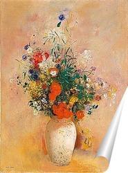 Постер Ваза с цветами на розовом фоне