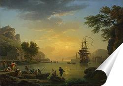 Постер Пейзаж на закате