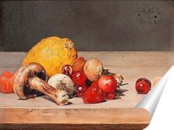 Постер Натюрморт с лимоном и ягодами
