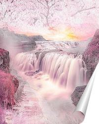 Постер Водопад на закате