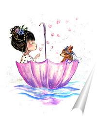 Постер Девочка с зонтиком детство олень