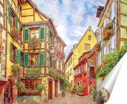Постер Красочная улица во Франции
