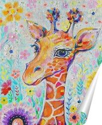 Постер Жираф в цветах