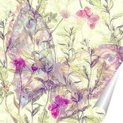 Постер Бабочка с полевыми цветами