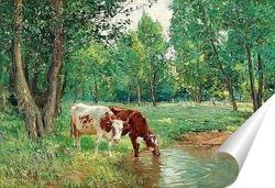 Постер Пасторальный пейзаж с коровами