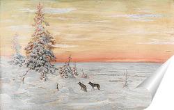 Постер Зимний пейзаж с волками
