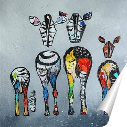 Постер Семья зебры