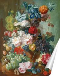Постер Фрукты и цветы в керамической вазе