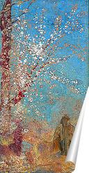 Постер Фигура около цветущего дерева