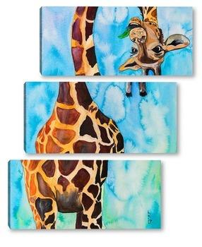 Модульная картина Забавный жираф