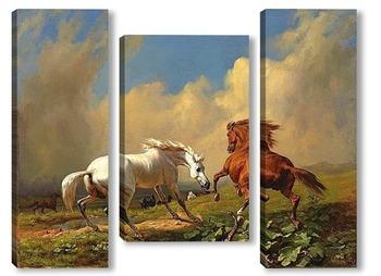 Модульная картина Лошадей перед приближающейся грозой