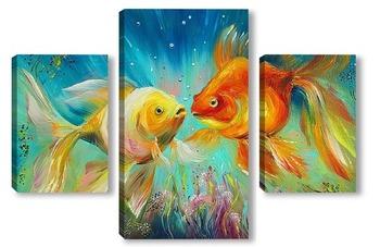 "Модульная картина ""Пара золотых рыбок"""