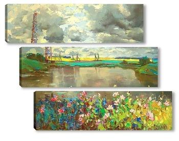 Модульная картина Пейзаж с вышкой