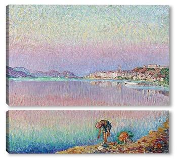 Модульная картина Сан-Тропе, двое детей у воды