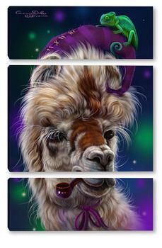 Модульная картина Альпака и хамелеон