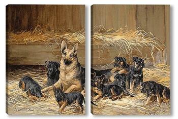 Модульная картина Немецкая овчарка со щенками