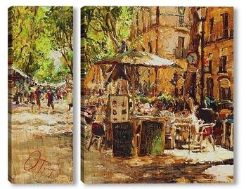 Модульная картина Уличное кафе в Барселоне