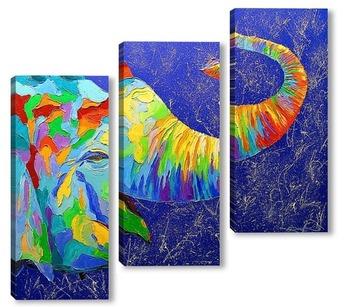 Модульная картина Улыбчивый слон