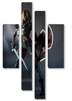 Модульная картина Девушка-воин