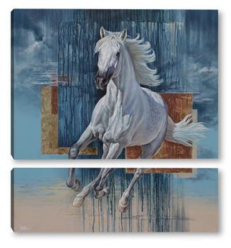 Модульная картина Белая лошадь