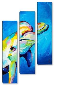 Модульная картина Улыбка дельфина