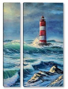 Модульная картина Маяк в бушующем море