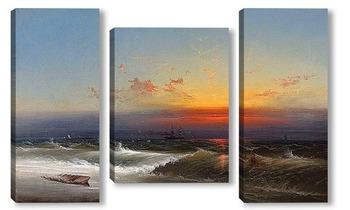 Модульная картина Вечер на берегу моря, 1864