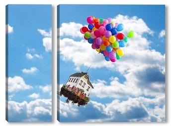 Модульная картина Летающий дом