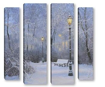 Модульная картина  Огни зимнего вечера ...