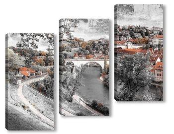 Модульная картина  Панорамный вид Берна