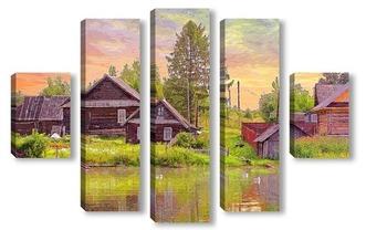 Модульная картина Деревня Волошно