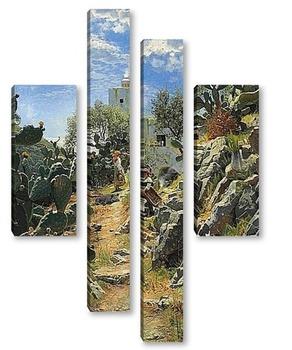 Модульная картина В полдень плантации кактуса в Капри