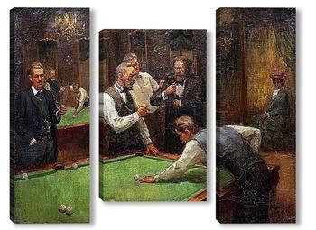 Модульная картина Играющие в бильярд
