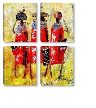 Модульная картина Африканцы в красном.
