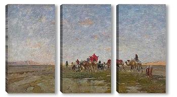 Модульная картина Караван в пустыне