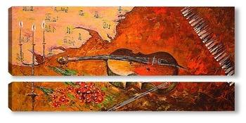 Модульная картина Уставшая скрипка