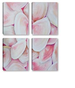 Модульная картина Перламутровые, розовые, морские ракушки