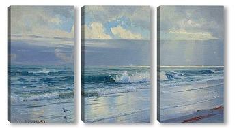 Модульная картина Волны вдоль берега моря (штат Род-Айленд)