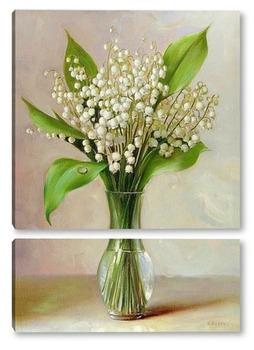 Модульная картина Ландыши в вазочке