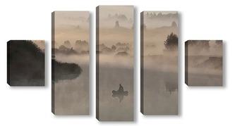 Модульная картина Рассвет на реке