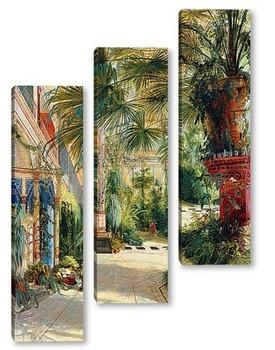 Модульная картина Внутреннее часть дома пальмы